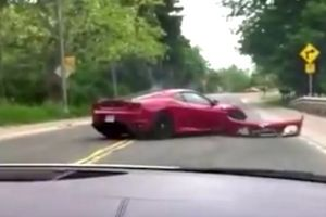 Oh sh*t, that`s not good! man crashes rented Ferrari F430 into a guardrail during exoric car tour in Canada