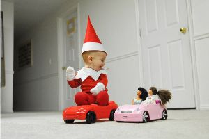 Dad Turns His Baby Son Into a Real-Life Elf on the Shelf