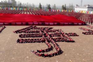 This is why China would beat us in a war! Insane demonstration performed by thousands of students at the Tagou Martial Arts School