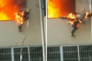Raw footage: Fireman Catches On Fire And Jumps Out Of Window