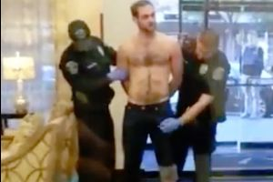 Guy high on Viagra gets arrested in a hotel lobby, cop squeezes his rock hard erection and instantly regrets it!