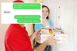 Creepy pizza delivery guy hits on a `girl` he delivered pizza to (7 Photos)