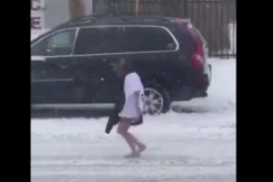 Worst walk of shame ever? Half-naked woman seen walking barefoot through Storm Jonas without trousers