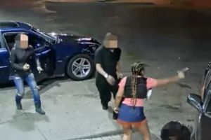 This is crazy! Woman at a gas station in Detroit let shots ring out after an altercation with another car.