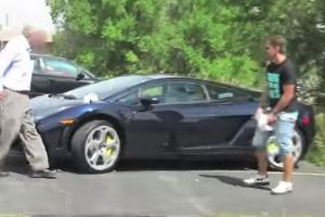 Oh Sh*t..Literally. Man got tasered for pretending to poop on Lamborghini in a prank for youtube video