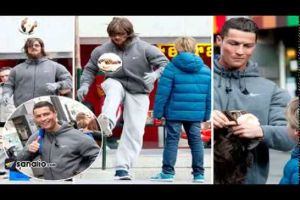 Cristiano Ronaldo Dresses Up As A Homeless And Surprises A Kid On A Madrid's Street