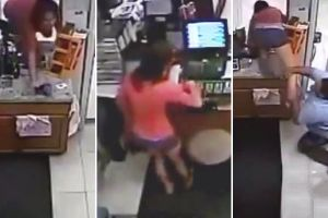 Fat Clerk Tries To Stop Girl From Stealing