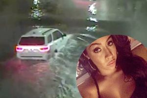 Chilling footage shows final moments of girl driving home from a nightclub and getting trapped in a submerged underpass.