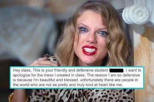 Student `apologizes` to her class for being too beautiful