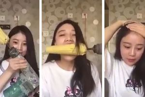 Asian Girl Rips Out Hair Trying To Eat Corn Off Drill