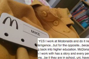 McDonald`s Worker Rips Apart Those Who Think He`s a Loser in One Facebook Post