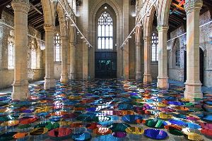 This beautiful rainbow floor composed of over 700 mirrors will take your breath away!