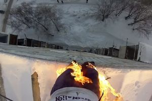 Russian Daredevil Sets Himself On Fire And Leaps Off A 9-Story Building, Gets Arrested, Hospitalised With A Bruised Lung And Damage To Internal Organs!