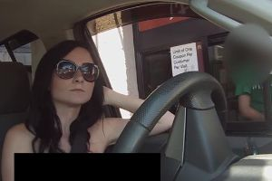 What would you react if you see a porn star goes topless in Drive-Thrus?