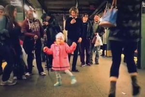 Little Girl Turns Cold Subway Platform Into Dance Party