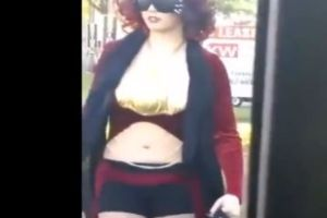 WTF: Woman With 3 Boobs Walks 4 Men In Public Like Dogs