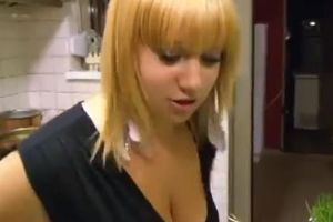 Blonde woman makes coffee. The level of fail is well over 9000