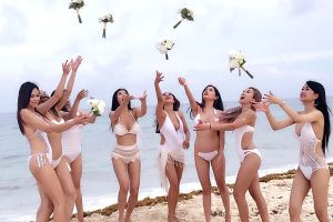 Beach wedding bikinis can`t be hotter! Vietnamese bride and bridemaids bared it all at the altar