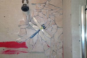 He Broke His Leftover Tile To Make Something Epic In His Guest Shower