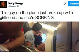 Woman live tweets a couples dramatic breakup 30,000 feet in the air
