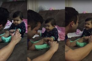 The youngest YouTube prankster in history! Baby adorably fake cries to prank dad