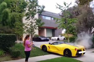 Ferrari LaFerrari NEAR CRASH, BURNOUT, REVVING & SMOKING in a Neighborhood?!