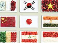 Amazing 18 national flags made from the country`s traditional foods.