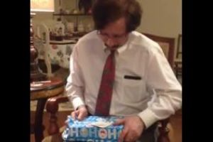 Uncle had a great Christmas! Watch him unwrap his surprise gift. Genuine excitement!