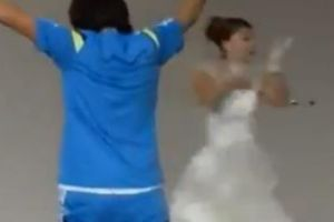 Japanese Soccer Player Hits Wedding Cake Topper from a Free Kick