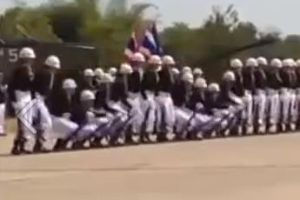 Thai Domino Soldiers do an impressive wave effect set to Europe's The Final Countdown