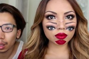 The Double Face Makeup for Halloween Must be The Creepiest Makeup Ever