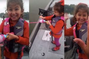 Little Girl Catches Her First Fish With Barbie Fishing Rod Is The Best Thing Ever!