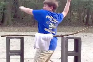 Wishful karate kid fails hilariously at breaking sticks, and he`s going to be devastated this is on the internet in 10 years time!