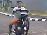 He is very good at riding the motorcycle...NOT