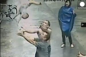 Chinese hero catches baby falling from second floor apartment