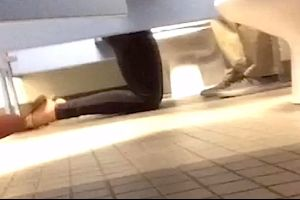 Couple Learns The Hard Way That The School Bathroom Isn`t The Best Place For A BJ